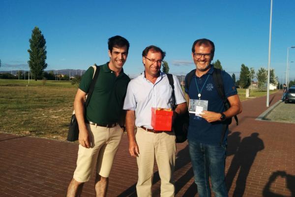 El equipo del ROC-SIANI: Ángel Ramos (i), Jorge Cabrera (c), y Antonio Domínguez (d), tras ganar el Campeonato del Mundo en Portugal. / ULPGC
